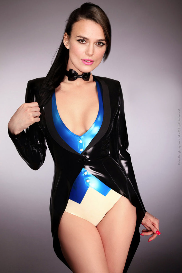 Blue and white latex bodysuit