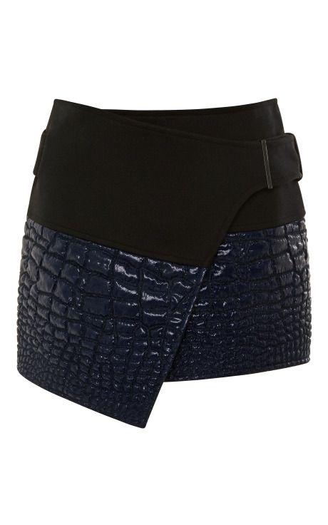 Snakeskin mini wrap skirt