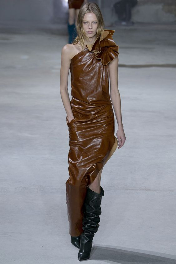 Brown faux leather dress