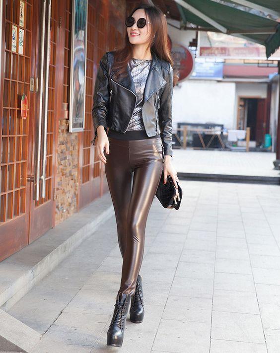 Brown imitation leather pants