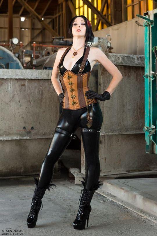Vinyl bodysuit with steampunk garter