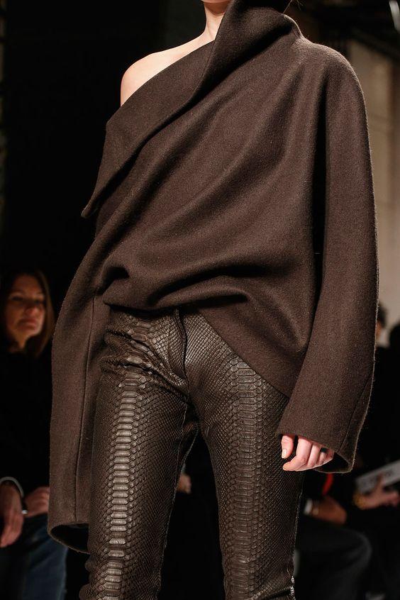 Brown snakeskin material pants