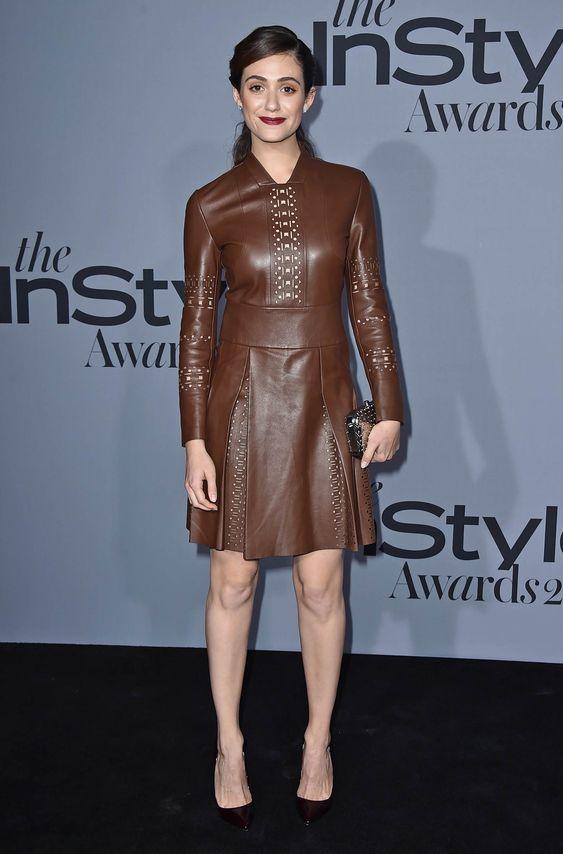 Brown vegan leather dress