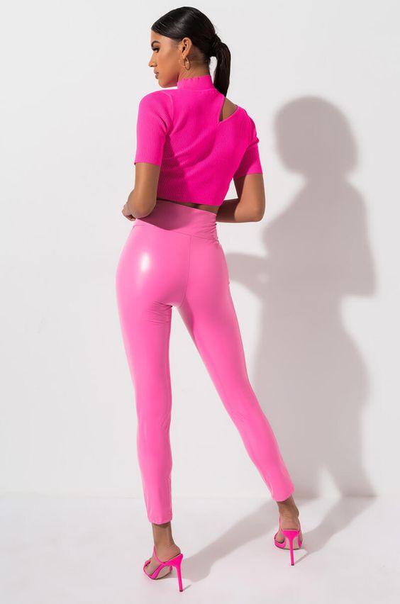 Bubble gum pink faux leather
