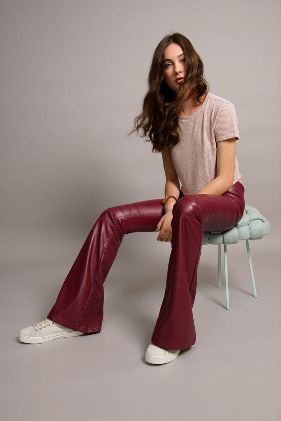 Burgundy vegan leather pants