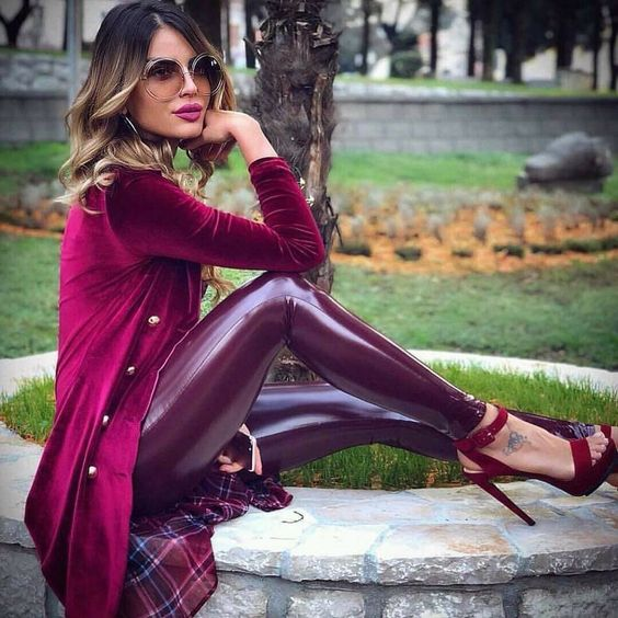 Burgundy stretch vinyl pants