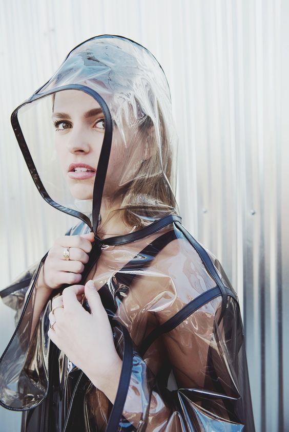 Clear plastic raincoat