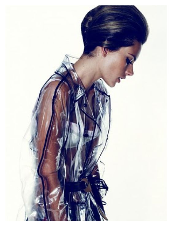 Clear plastic trench coat