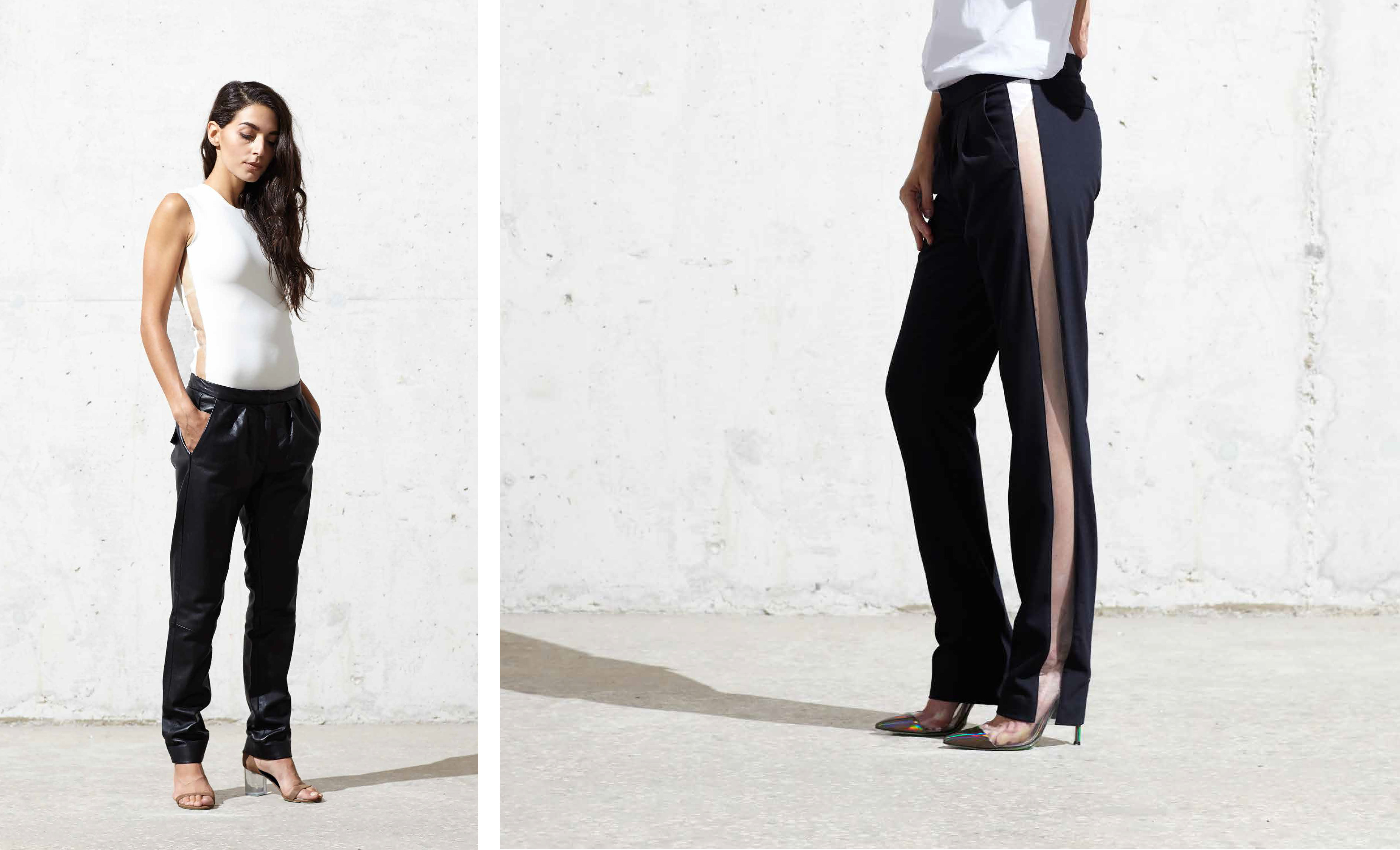 Clear vinyl stripe on pants and top