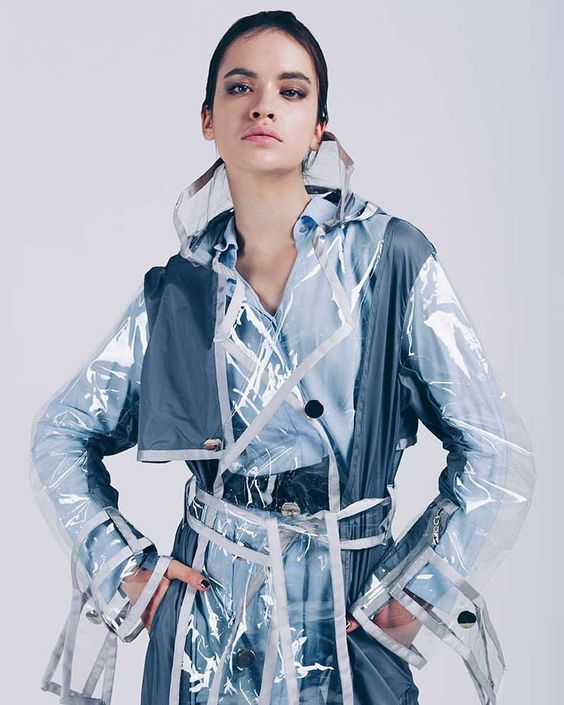 Clear vinyl trench coat