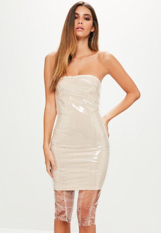 Dress with clear vinyl hem