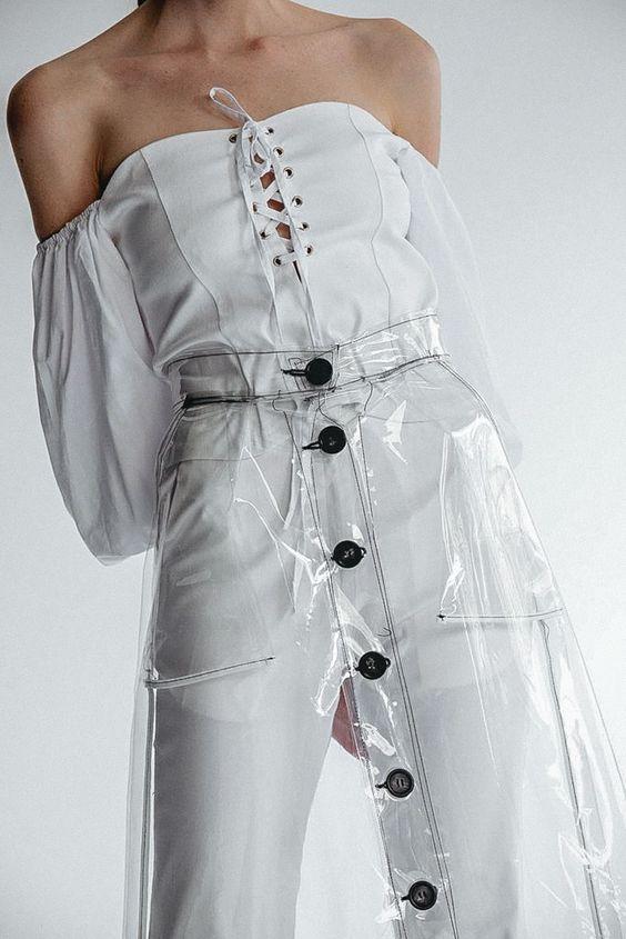 Clear Vinyl Button Skirt
