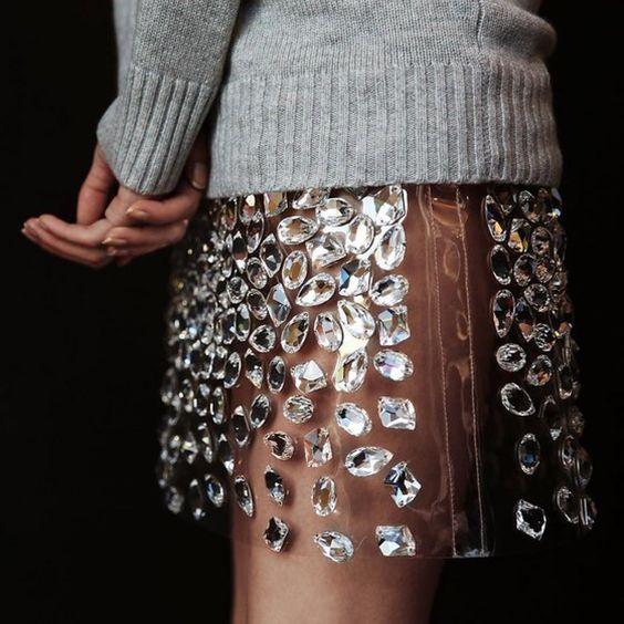 Crystal-embellished clear vinyl skirt