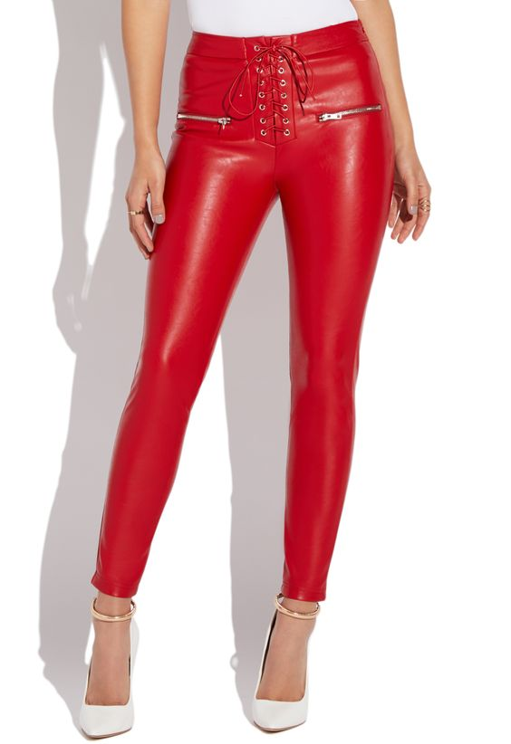 Coral red leather for jeans