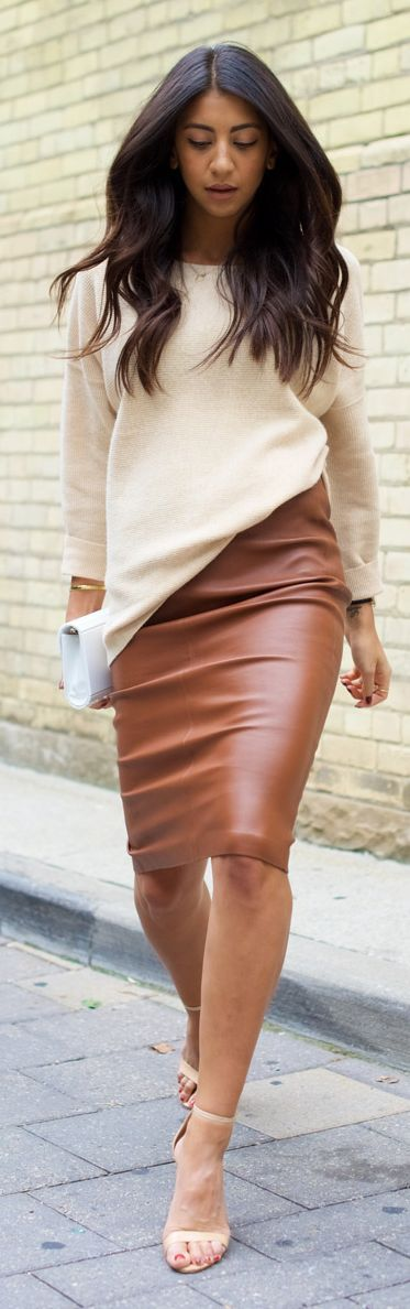 Cream and camel leather
