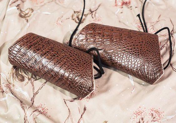 Crocodile snakeskin cuffs