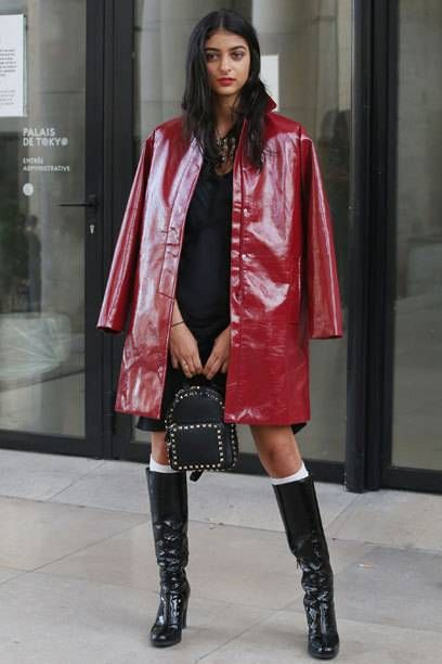 Dark red patent vinyl coat