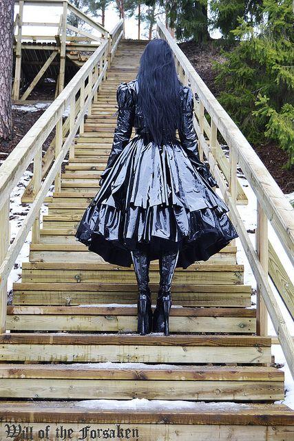 Long black vinyl goth coat
