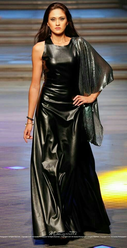 Flowing faux leather dress