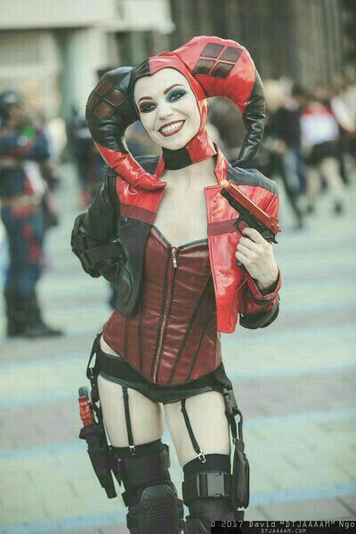 Faux leather Harley Quinn costume