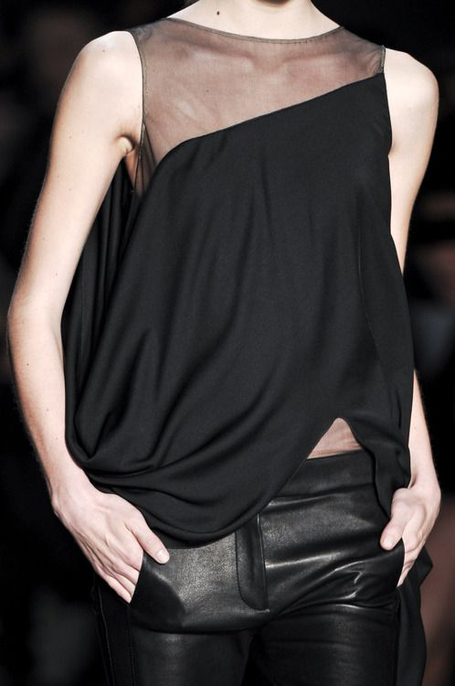 Faux leather pants with tulle accented top