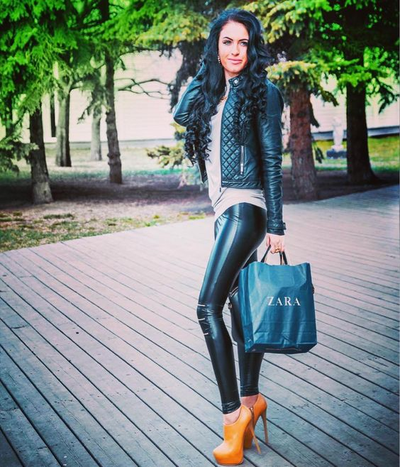 Faux leather pants and jacket