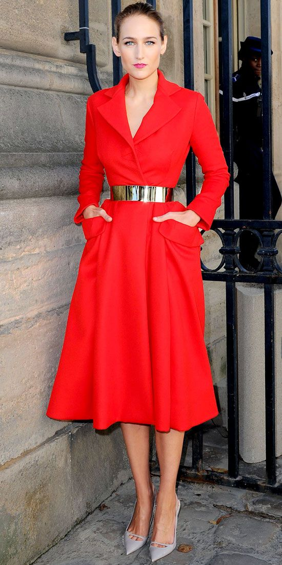 Red dress with gold belt