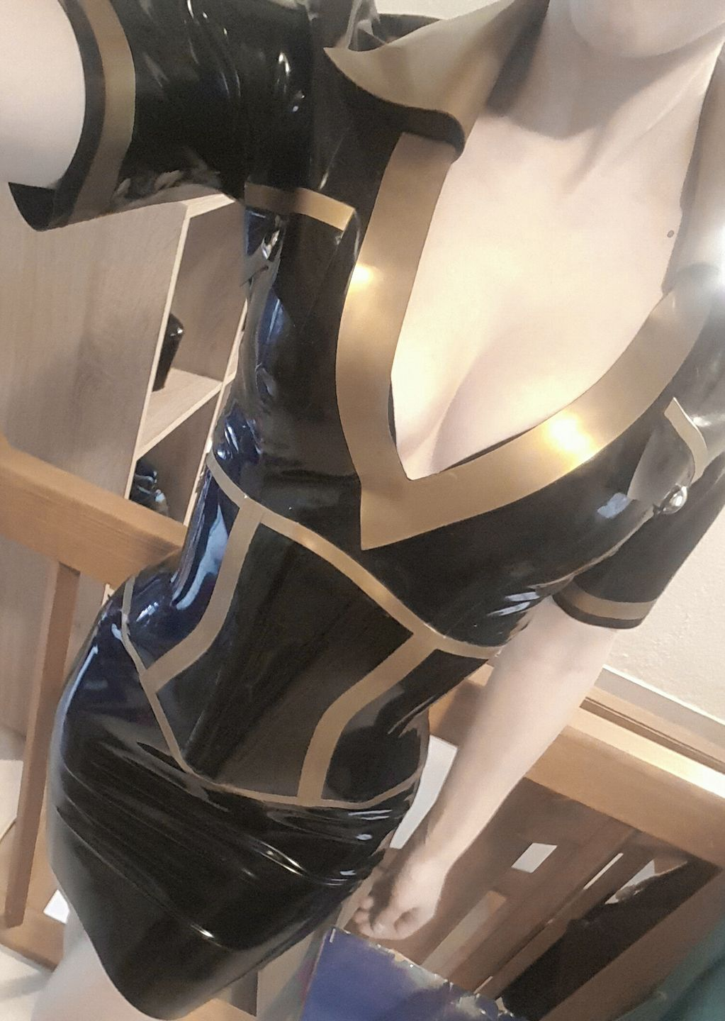 Black and gold latex dress