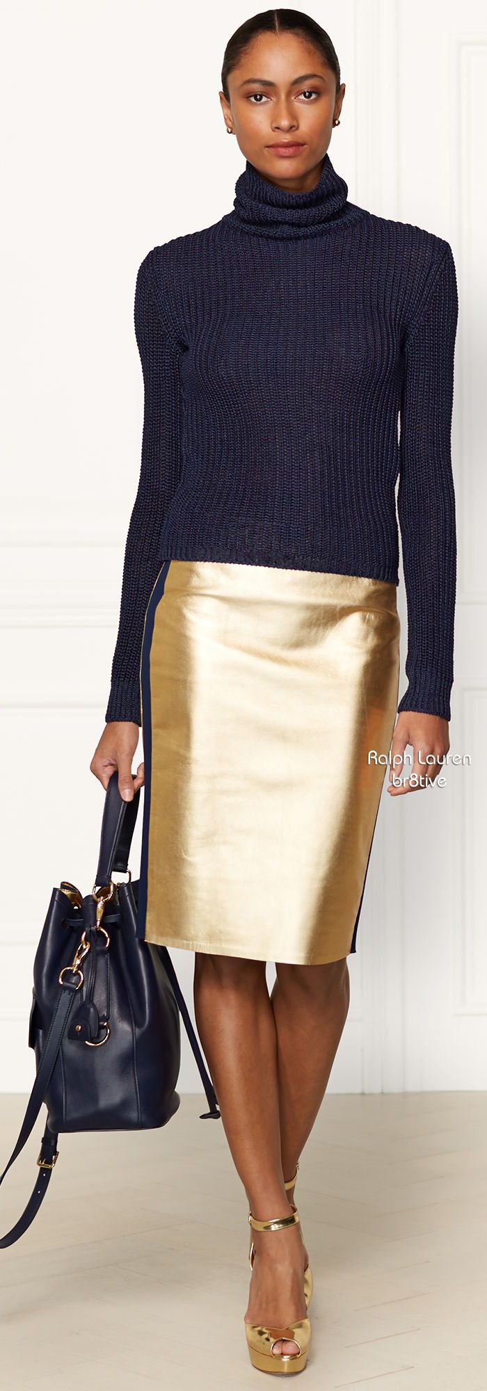 Understated gold pleather skirt