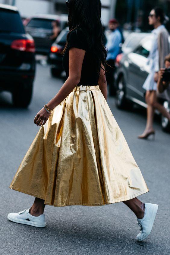 Gold PVC skirt