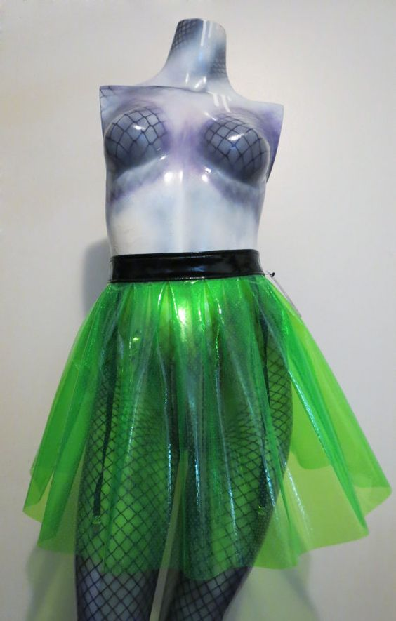 Green clear vinyl skirt