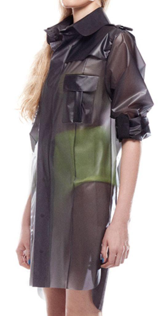 Clear vinyl military dress