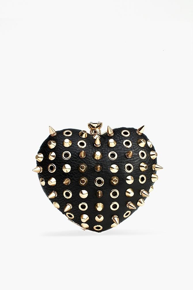 Spiked heart clutch handbag