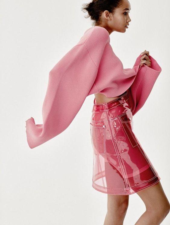 Hot pink clear vinyl skirt