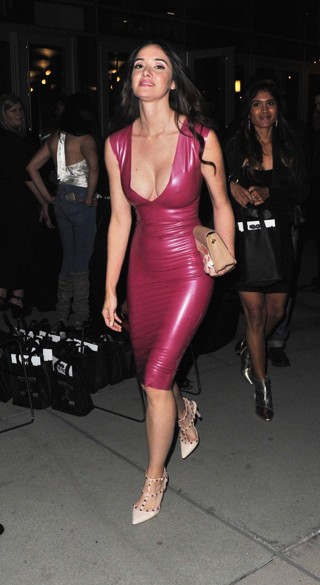 Hot pink latex sheeting dress