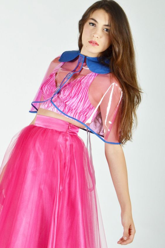 Hot pink tulle material