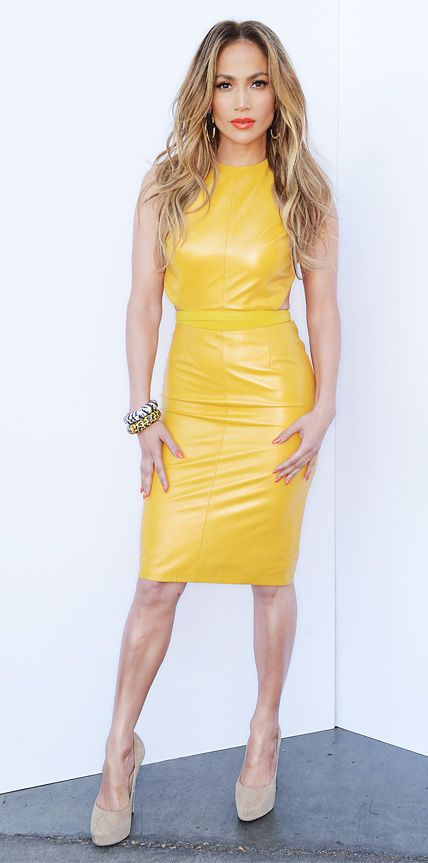 J-Lo in yellow vinyl
