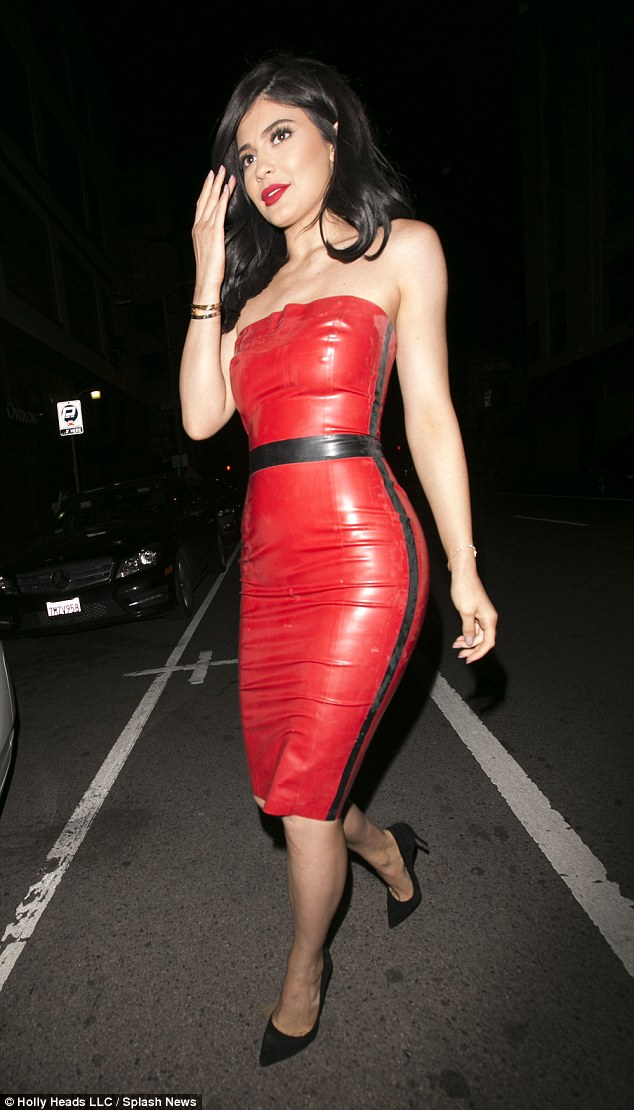 Image Of Kylie Jenner Red Latex Dress