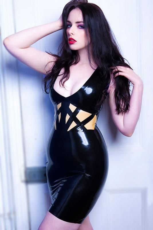 Latex dress with clear inlays