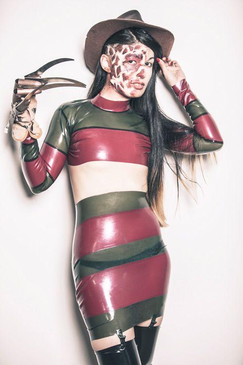 Female Freddy Krueger latex costume