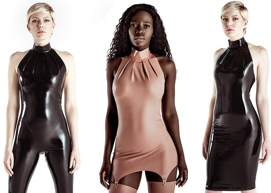 Latex pieces with high necklines