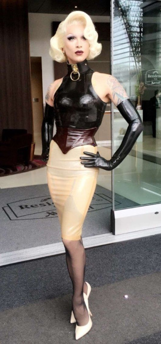 Latex color block outfit