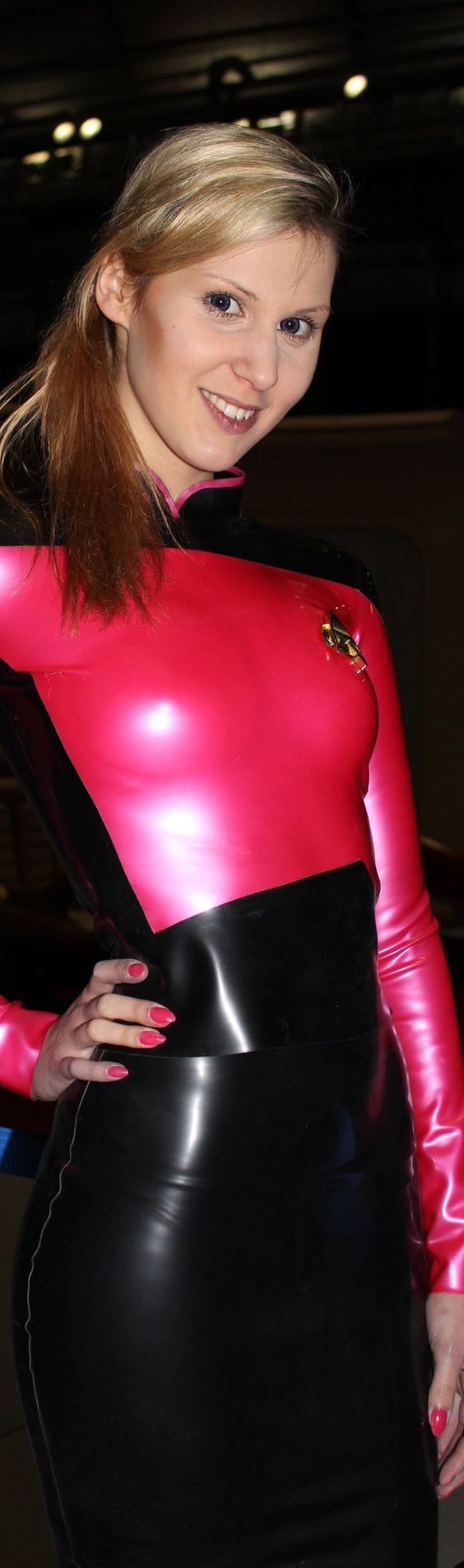 Black and red latex Star Trek costume