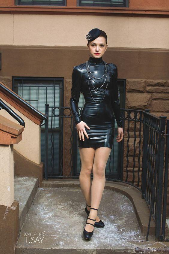 Black long sleeved latex dress