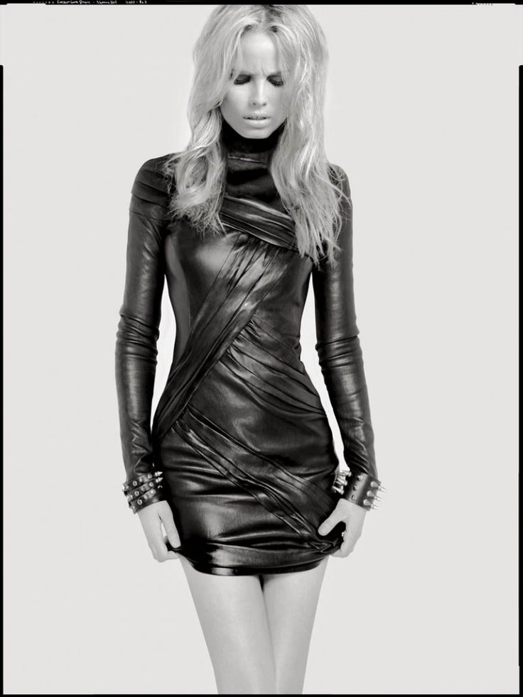 Leather dress and spiked wristbands