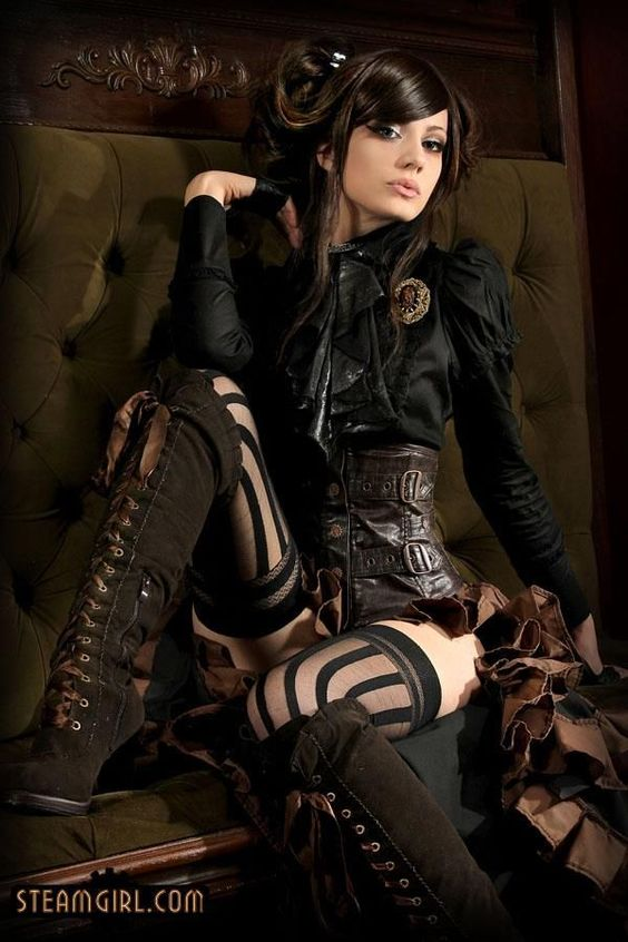 Steampunk outfit with ruffled shirt and corset belt