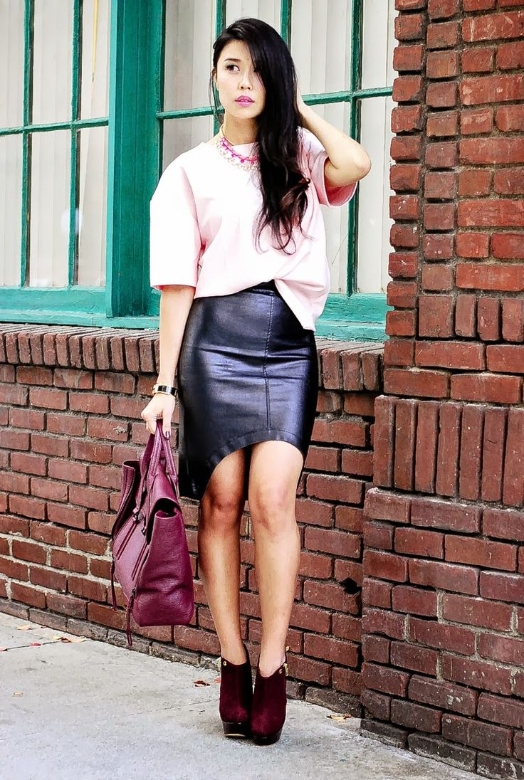 Leather skirt with curved front