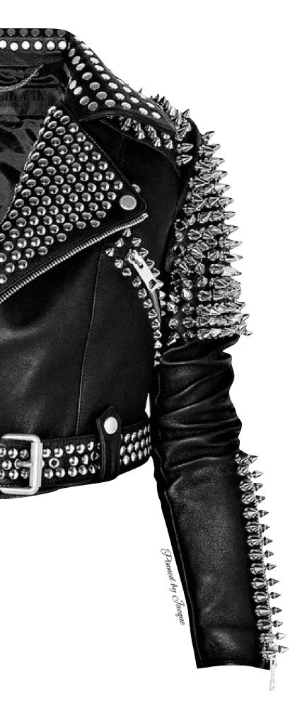 Leather jacket infused with tons of silver spikes
