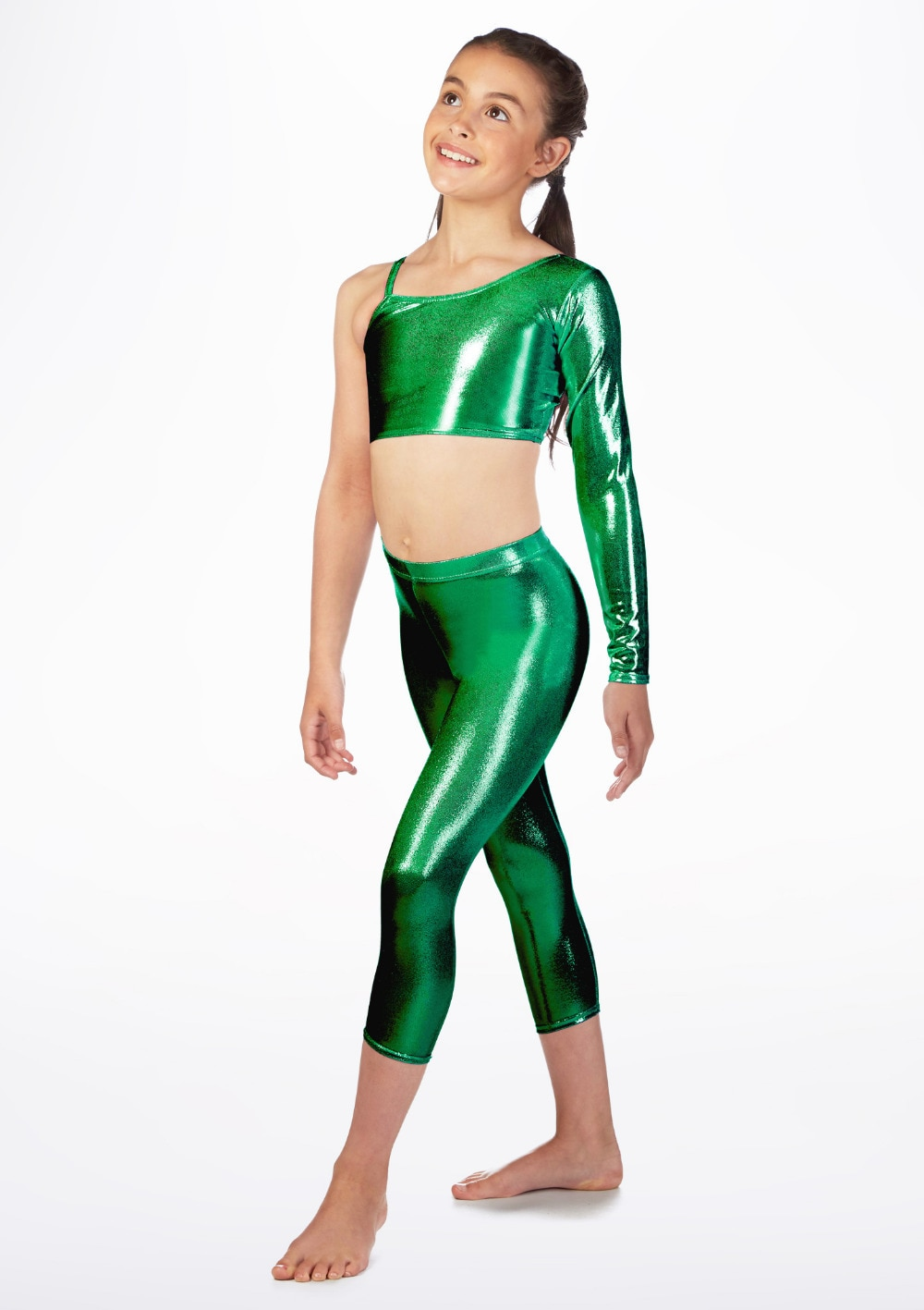 Metallic forest green spandex foil