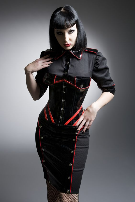 Image Of Diesel Punk Military Inspired Vinyl Dress